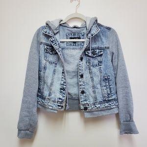 Denim vest/hoodie combo jacket